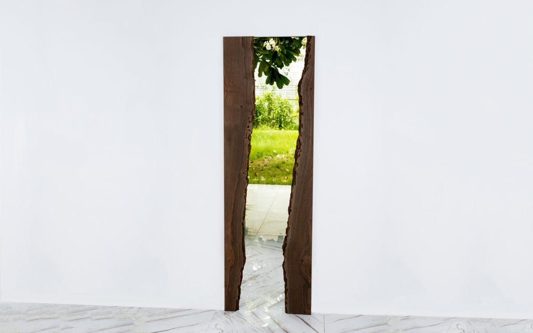 'Phra Mae Thorani' Live Edge River Wood Mirror